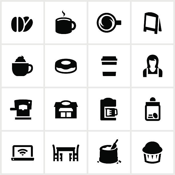 coffee shop icons - barista stock illustrations, clip art, cartoons, & icons