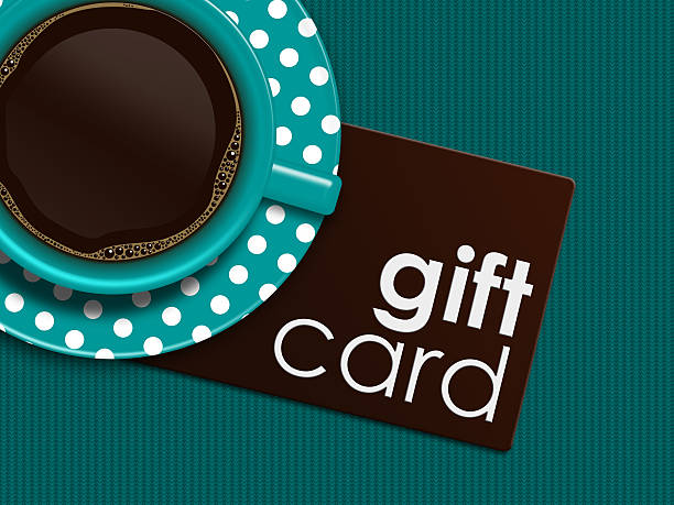 coffee with gift card lying on tablecloth - sale stock illustrations