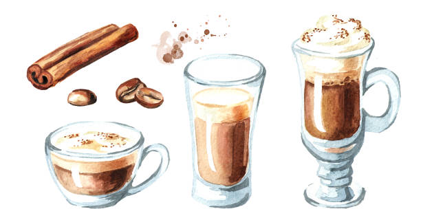 coffee with milk set. cinnamon and coffee beans. watercolor hand drawn illustration, isolated on white background - cappuccino stock illustrations