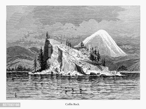 Very Rare, Beautifully Illustrated Antique Engraving of Coffin Rock, Columbia River, Oregon, United States, American Victorian Engraving, 1872. Source: Original edition from my own archives. Copyright has expired on this artwork. Digitally restored.