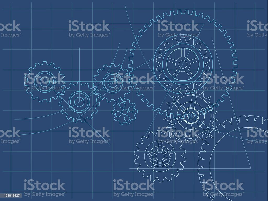Cogs and wheels blueprint background royalty-free stock vector art