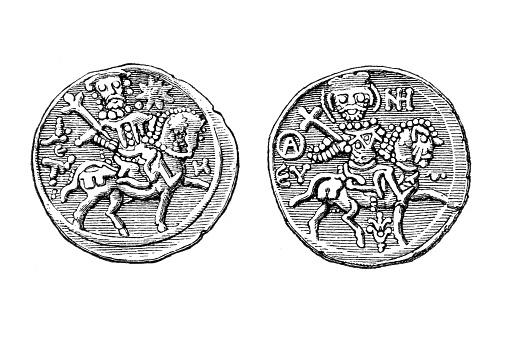 Coin depicting Alexios II Megas Komnenos mounted on a horse