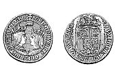 istock Coin of Ferdinand II and Isabella 1280226312