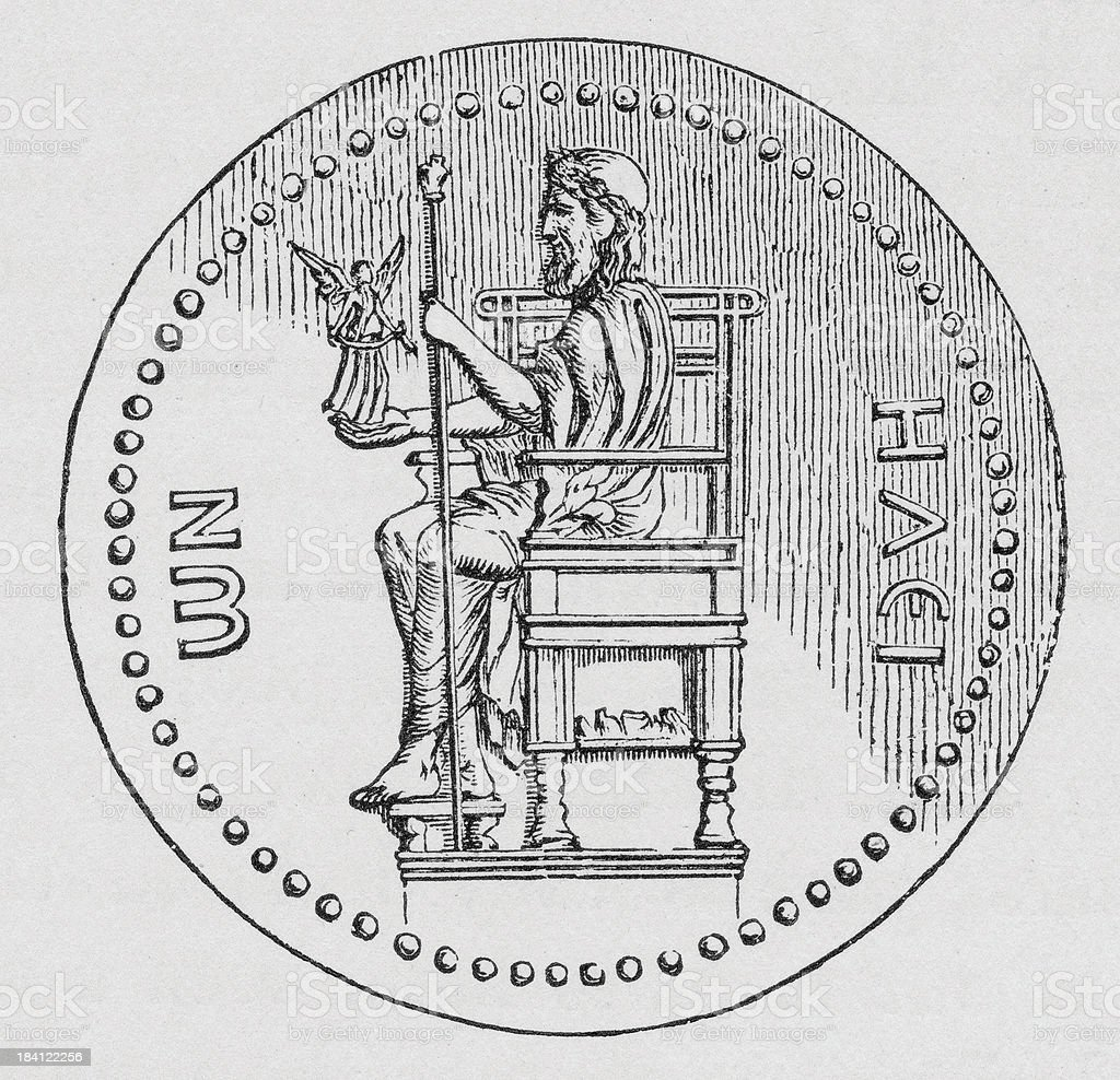 Coin of Hadrian vector art illustration