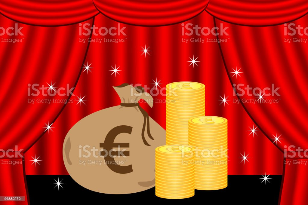 Coin on the stage. vector art illustration