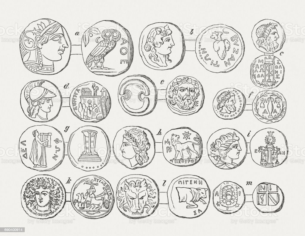 Coins of Hellenistic cities and communities, wood engravings, published 1880 vector art illustration