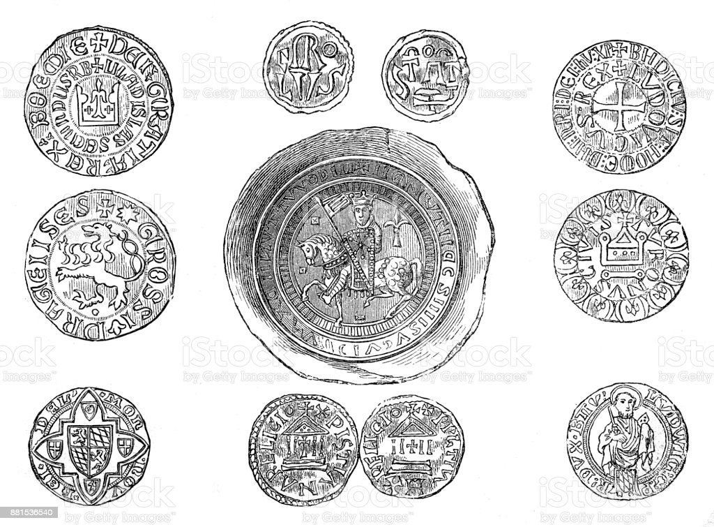 Coins of the Middle Ages vector art illustration