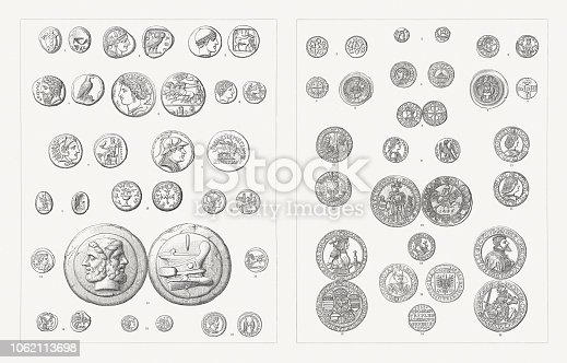 Coins (front and backside). Left side, Antiquity: 1) Aegina, Attica, 510-490 BC, silver, didrachm, turtle; 2) Attica, Athens (490-407 BC), tetradrachm, silver; 3) Thrace, Ainos, c.474/3 - 449/8 BC, tetradrachme, silver; 4) Tetradrachme of Elis, Zeus and eagle, c.400 BC; 5) Decadrachm of Syracuse, Sicily, c.400 BC; 6) Gold stater with portraoit of Phillip II of Macedon, ca. 340 BC; 7) Tetradrachm of Alexander the Great, head of Heracles, Babylon 325 BC; 8) Tetradrachm with the portrait of Bactrian King, Eukratides, circa 170 - 145 BC; 9) Gold Daric of Persian king Darius III, Babylon, c.336-330 BC; 10) Jewish silver shekel, Judaea, Jewish War, 66-77 AD; 11) Denarius, helmeted head of Roma and Castor and Pollux galloped, X=10 Asse; 12) Silver denarius with the portrait of Julius Caesar and Juno with two draft horses, Rome, 44 BC; 13) Cast Roman bronze as with head of Janus and a ship, c.150 BC; 14) Silver quinarius, Roman Republic, after 211 BC; 15) Roman sestertius, helmeted head of Roma and Castor and Pollux galloped, IIS=2,5 Asse; 16) Roman coin, half-length portrait of Emperor Marcus Aurelius, and his co-emperor Lucius Verus, 161-180 BC. Right side, 5th-17th century: 1) Denarius of Charlemagne (768-814), Mainz; 2) Silver coin, Odoacer period (476-493); 3) Denarius of Henry IV (1056-1106), Duisburg; 4) Denarius of Otto III (980-1002); 5) Bracteate of Frederick I (1122-1190); 6) Denarius of Otto I (912-973), Strasbourg; 7) Bracteate of Archbishop Wichmann von Magdeburg (before 1116-1192); 8) Denarius of King Cnut of England (c.995-1035), Oxford; 9) Golden augustalis of Frederick II (1194-1250), Brindisi; 10) Penny (Groschen), Aachen (1492); 11) Silver coin (Teston) of Gian Galeazzo Visconti of Milan (1351-1402) and Ludovico Sforza (1452-1508); 12) Thaler of Sigismund (1427-1496); 13) Thaler of Maximilian I (1459-1519); 14) 3 Gröscher of Duke Albert of Prussia (1490-1568); 15) Quarter thaler of Wallenstein (1626); 16) Thaler, Lübeck (1557). Woodcuts, published 1897.