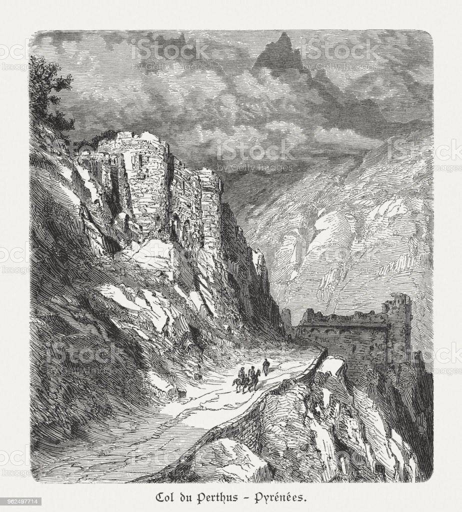 Col du Perthus, passe de montanha dos Pirinéus, publicado 1897 - Ilustração de Altos-Pireneus royalty-free