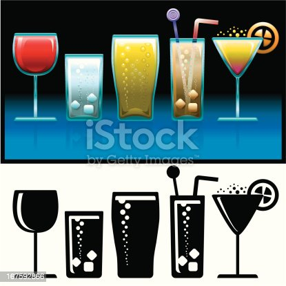 Five cold drinks: red wine, water, beer, soda pop and cocktail.