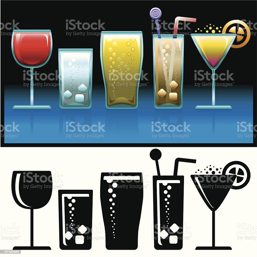 Cold Drinks icon set vector art illustration