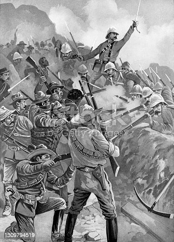 Coldstream Guards and Scots Guards engaging Boer Commandos at the Battle of Belmont of the Second Boer War in South Africa. Vintage etching circa 19th century.