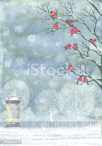 Composition from watercolor background with snowflakes and vector flock of bullfinches perching on the branches of a trees, advertising column, snow, trees and fence