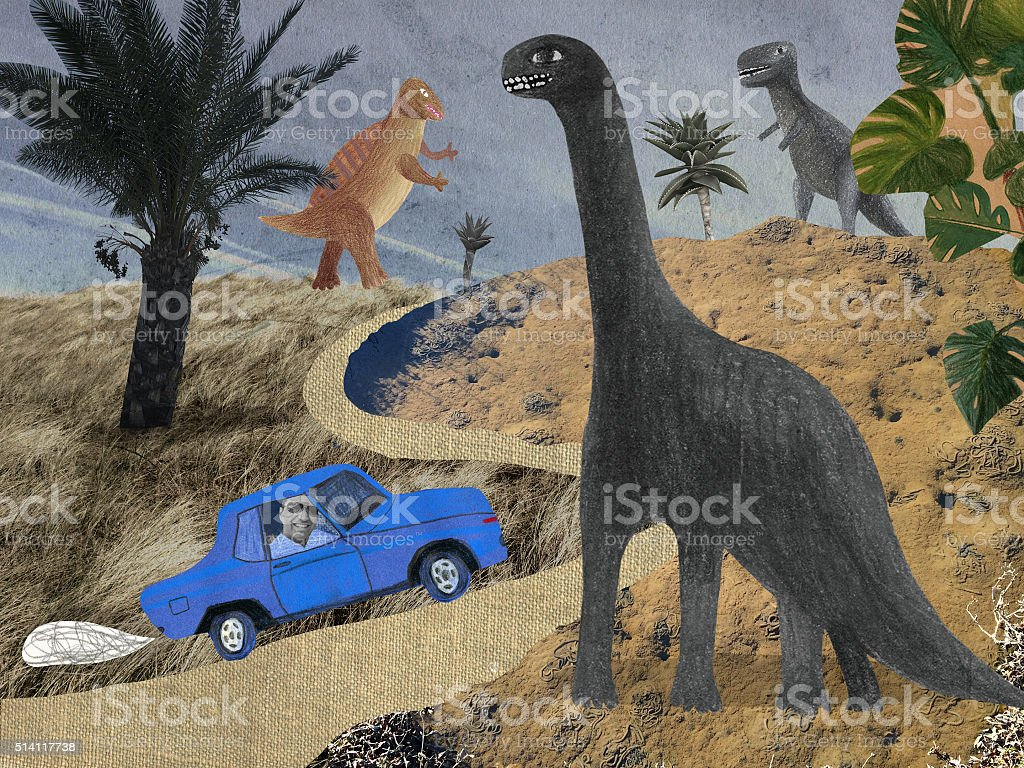 Collage of dinosaur park - Royalty-free Adventure stock illustration