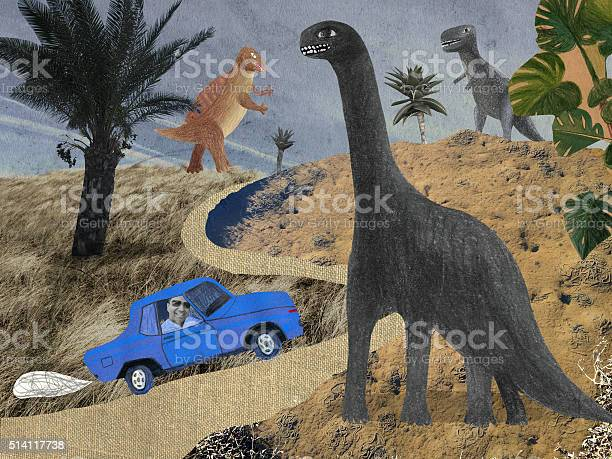 Collage Of Dinosaur Park Stock Illustration - Download Image Now