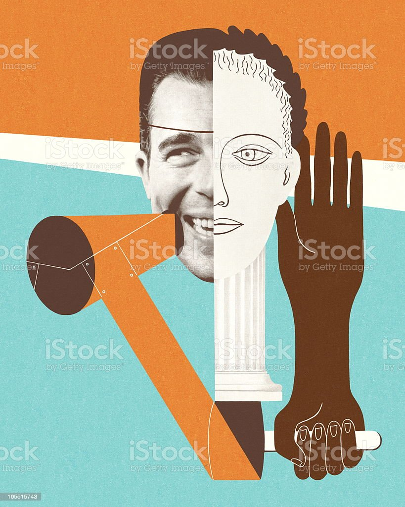 Collage of Faces and Hands vector art illustration