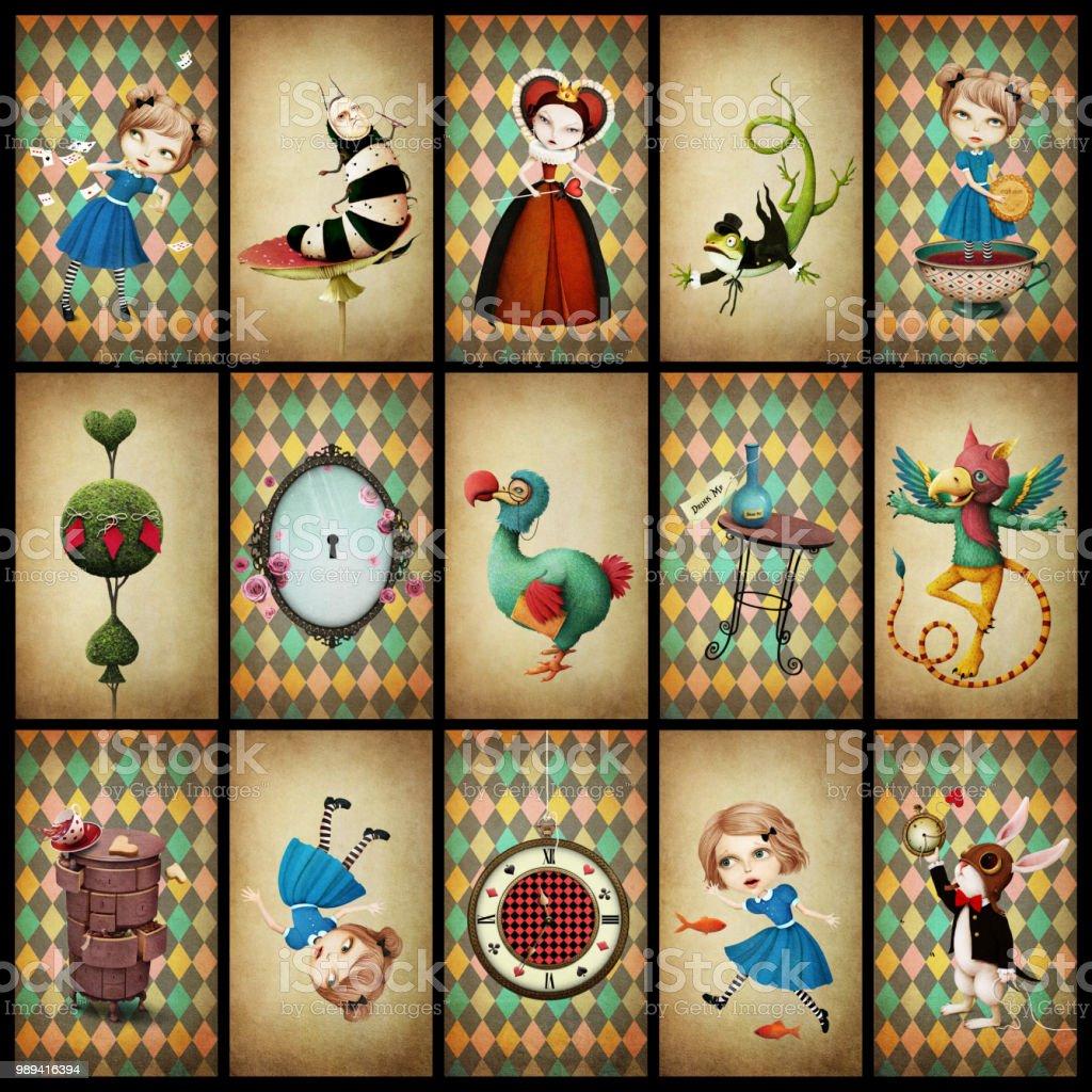 Tarjetas de la colección Wonderland - ilustración de arte vectorial