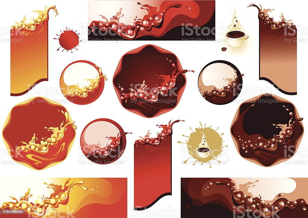 Coleção de rótulos. Toques de café, suco e vinho - ilustração de arte em vetor