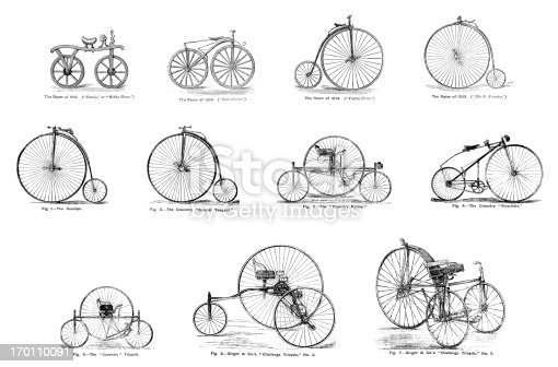 A collection of 19th century bicycles and tricycles. From 'The Boy's Own Paper' 1879-80, a British newspaper for boys which was at that time published by the Religious Tract Society and which featured stories, heroic deeds, facts, educational items and illustrations.