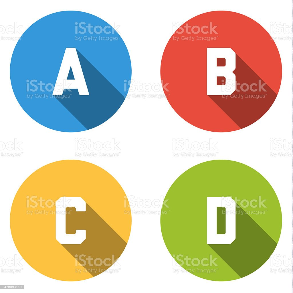 Collection of 4 isolated flat  buttons (icons) for 4 possibiliti vector art illustration