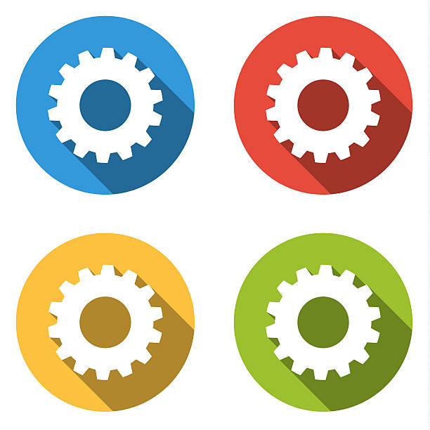 Collection of 4 isolated flat buttons for gear vector art illustration