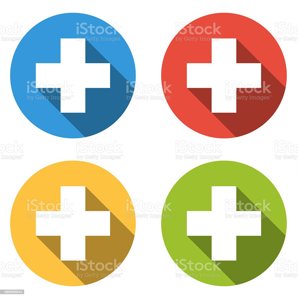 Collection of 4 isolated flat buttons for help /add vector art illustration