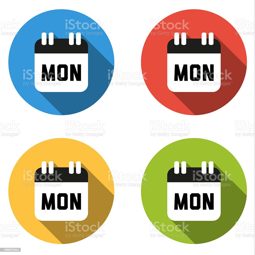 Collection of 4 isolated flat colorful buttons for Monday (calen vector art illustration