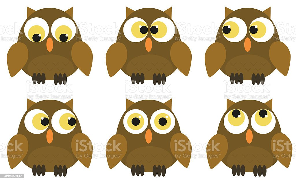 Collection of 6 owl characters vector art illustration