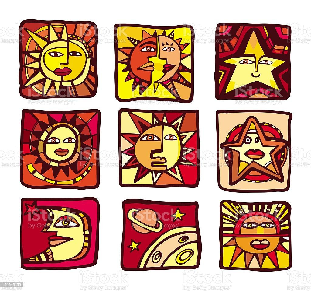 collection of abstract planets, icons royalty-free stock vector art