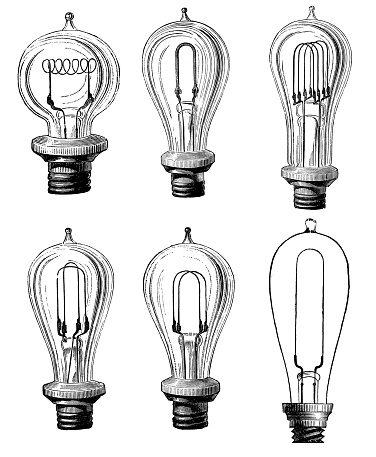 Collection of antique illustrations of scientific discoveries: Light bulb