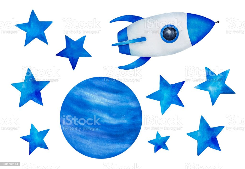 Collection of beautiful cosmic elements. Star shapes, planet illustration, rocket space ship. vector art illustration