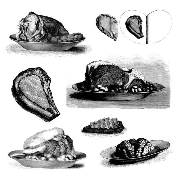 illustrations, cliparts, dessins animés et icônes de collection de viande bovine plats gastronomiques;: côtelette, steak, bœuf - cuisine espagnole