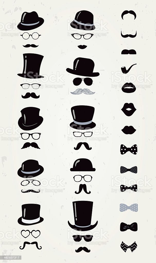Collection of black, grey and white hipster icons vector art illustration
