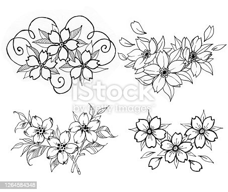 Collection of blooming flower tattoos.