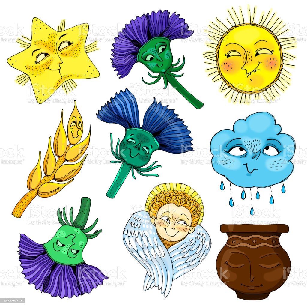 Collection of cute emoji stickers. set of cloud, sun, flowers, spikelets, pot, star and angel vector art illustration