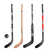 Collection of different hockey sticks, decorated with colorful stripes and sporty lines. Overhead view.