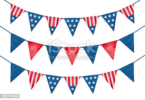 Collection of festive holiday bunting with the United States flag ornament.