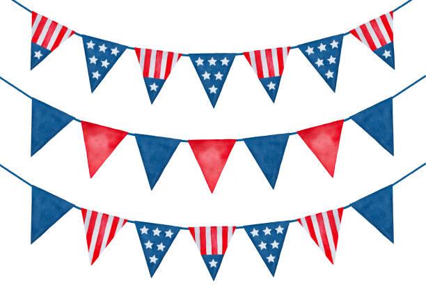 收藏節日節日彩旗與美國國旗裝飾品。 - independence day 幅插畫檔、美工圖案、卡通及圖標