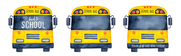 Collection of funny school buses, front view. Use black window and face bar as creative mock up to write your slogan, quote, greeting, message, regards. vector art illustration