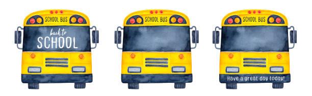 ilustrações, clipart, desenhos animados e ícones de coleção de engraçado ônibus escolares, vista frontal. use janela preta e rosto bar como criativa simulação para escrever o seu lema, citação, saudação, mensagem, cumprimentos. - ônibus escolares