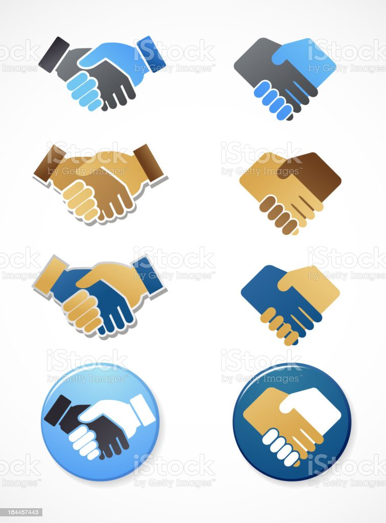 collection of handshake icons and elements vector art illustration