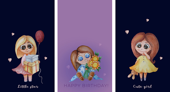 collection of kids congratulations cards. Cute girls - with a bouquet of flowers of sunflowers, with gifts and a balloon and toys. Text - happy birthday, little star and a cute girl. Watercolor