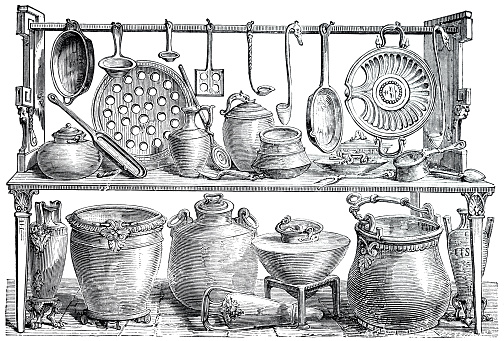 Collection of kitchenware from ancient Pompeii