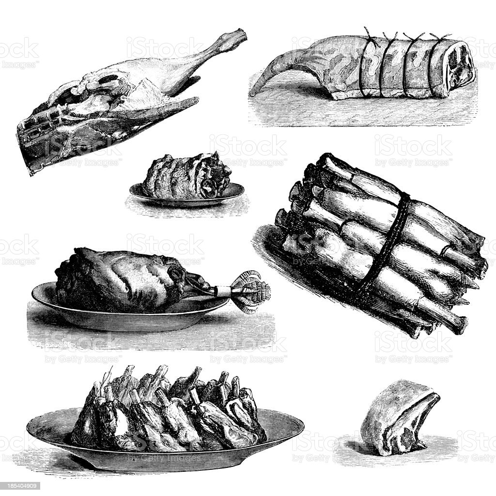 Collection of lamb meat meals: roast leg, rack, ribs, cutlets royalty-free collection of lamb meat meals roast leg rack ribs cutlets stock vector art & more images of 19th century
