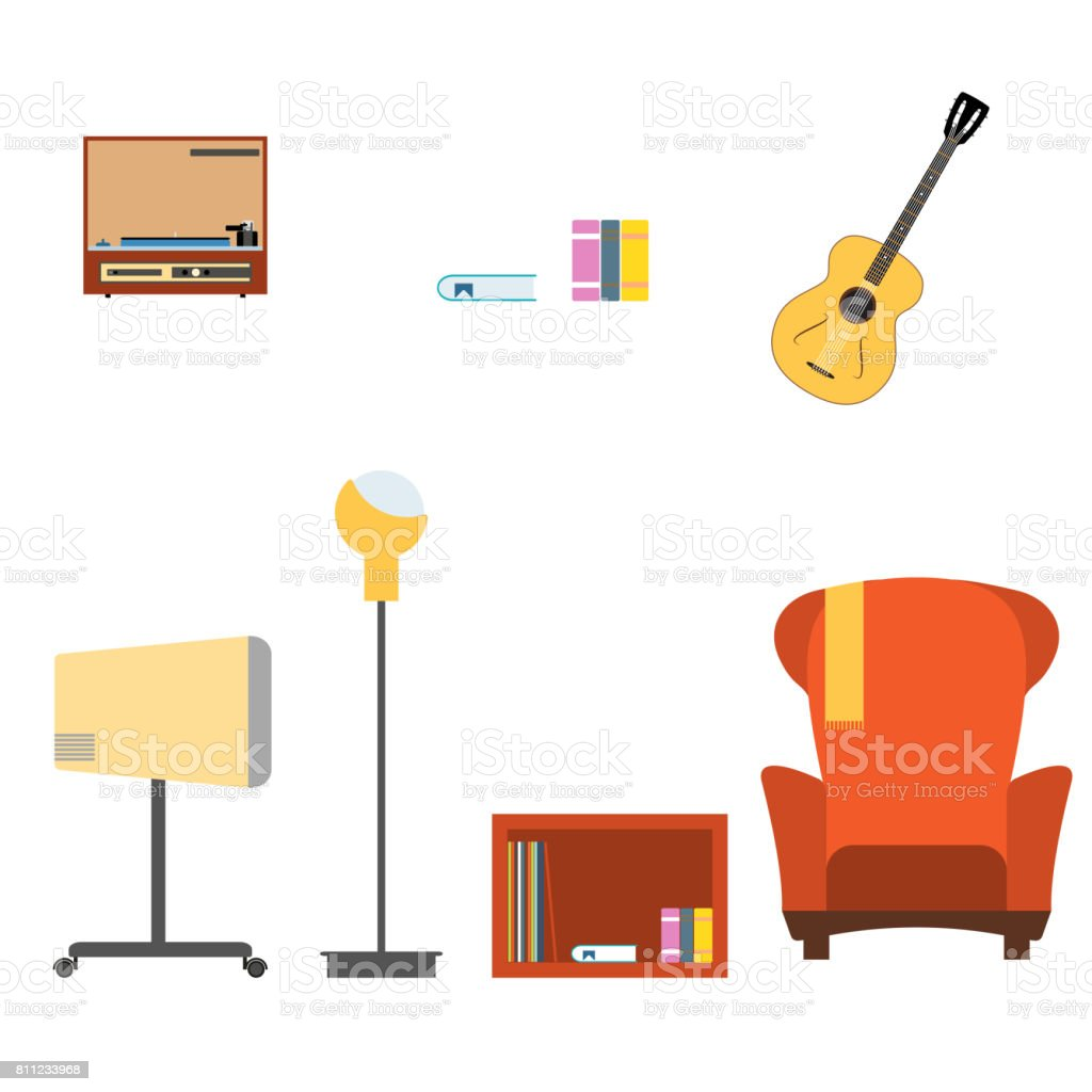 Collection Of Living Room Interior Objects With Armchair Tv Guitar ...