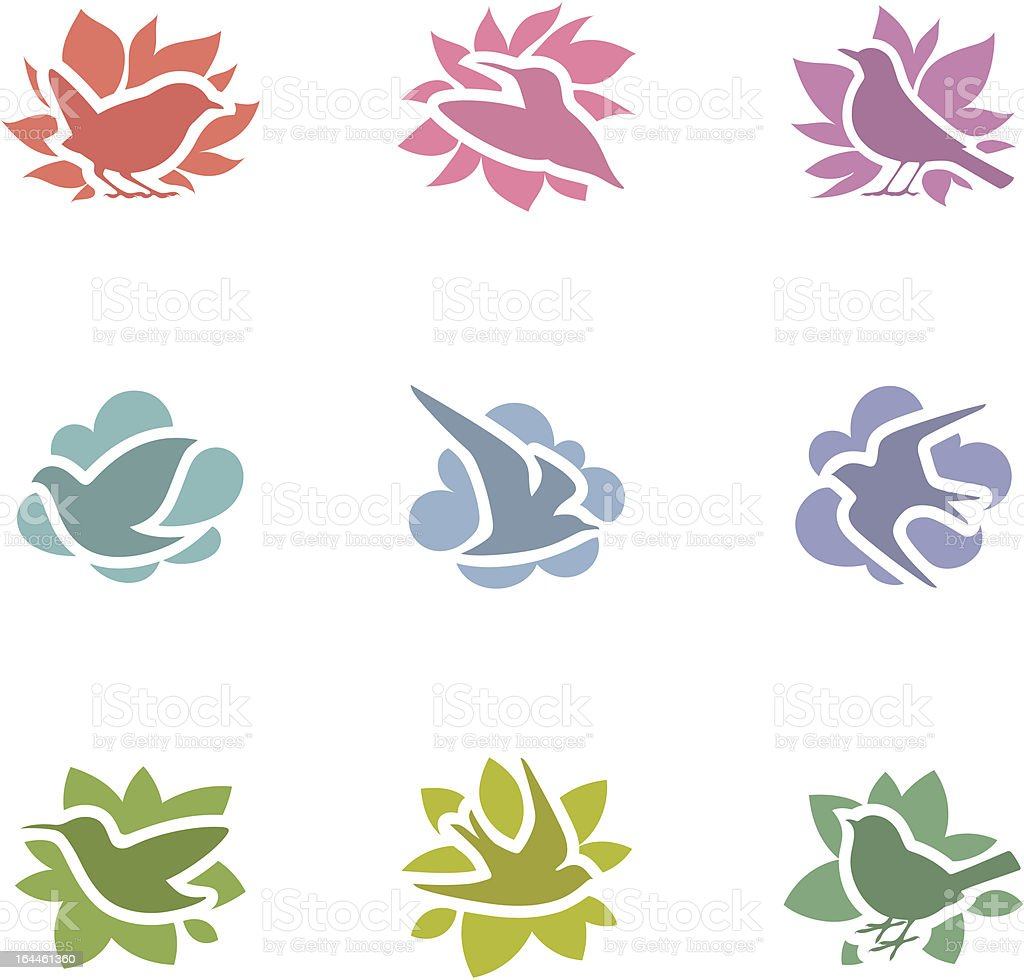 Collection of multicolored birds. Elements for design. vector art illustration