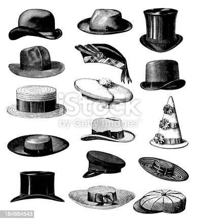 istock Collection of Old-fashion Vintage Male Classic Hats All Types 184984543
