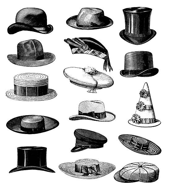 "Collection of Old-fashion Vintage Male Classic Hats All Types ""Antique engraving of a collection of hat illustrations. Published in Systematischer Bilder-Atlas zum Conversations-Lexikon, Ikonographische Encyklopaedie der Wissenschaften und Kuenste (Brockhaus, Leipzig, 1844 and 1875)."" uniform cap stock illustrations"