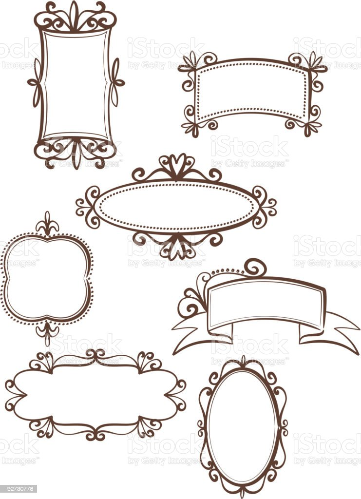 Collection Of Retro Frames And Vintage Design Elements Stock Vector ...