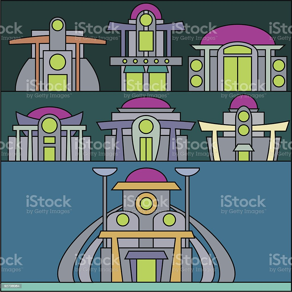 Collection of strange buildings.  Alien stock vector